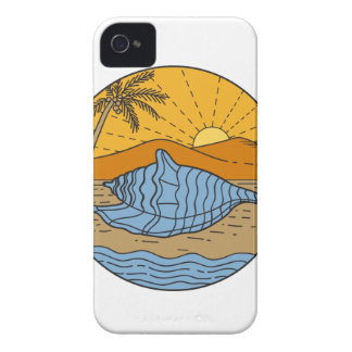 Conch Shell on Beach Mountain Sun Coconut Tree Mon iPhone 4 Case