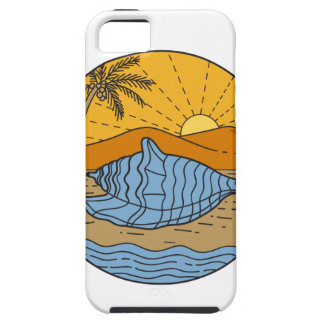 Conch Shell on Beach Mountain Sun Coconut Tree Mon iPhone 5 Case