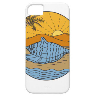 Conch Shell on Beach Mountain Sun Coconut Tree Mon iPhone 5 Cover