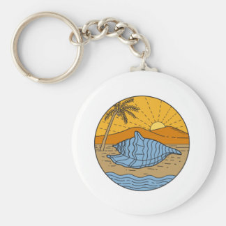 Conch Shell on Beach Mountain Sun Coconut Tree Mon Key Ring