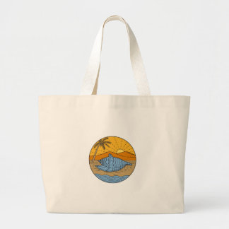 Conch Shell on Beach Mountain Sun Coconut Tree Mon Large Tote Bag