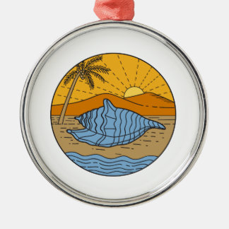 Conch Shell on Beach Mountain Sun Coconut Tree Mon Metal Ornament