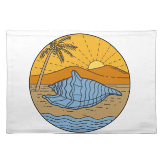 Conch Shell on Beach Mountain Sun Coconut Tree Mon Placemat