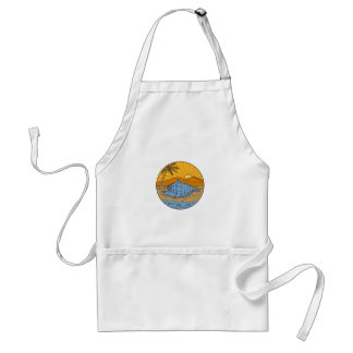 Conch Shell on Beach Mountain Sun Coconut Tree Mon Standard Apron