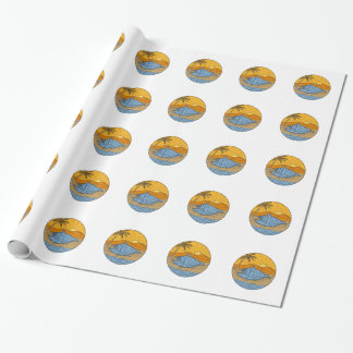 Conch Shell on Beach Mountain Sun Coconut Tree Mon Wrapping Paper