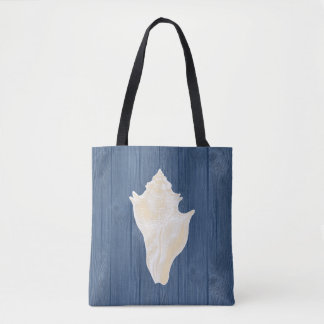 Conch Shell Vintage Blue Wood Beach Tote Bag
