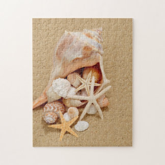 Conch Shell with Shells and Starfish Jigsaw Puzzle