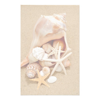 Conch Shell with Shells and Starfish Stationery Design