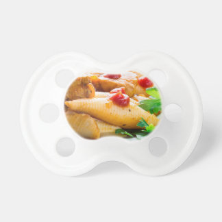 Conchiglioni pasta closeup baby pacifiers