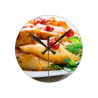 Conchiglioni pasta closeup round clock