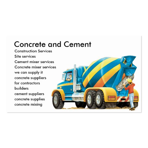 Concrete and Cement Mixer Business Card Business Card Templates