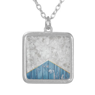 Concrete Arrow Blue Wood #347 Silver Plated Necklace