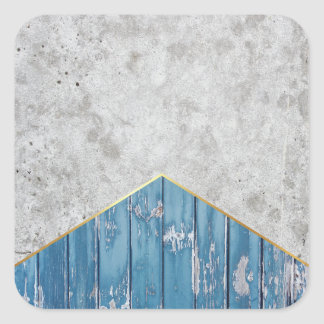 Concrete Arrow Blue Wood #347 Square Sticker