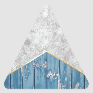 Concrete Arrow Blue Wood #347 Triangle Sticker