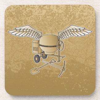 Concrete mixer beige beverage coaster