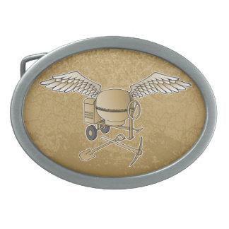 Concrete mixer beige oval belt buckle