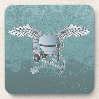 Concrete mixer blue-gray drink coaster