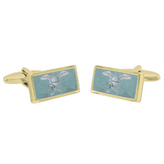 Concrete mixer blue-gray gold finish cufflinks