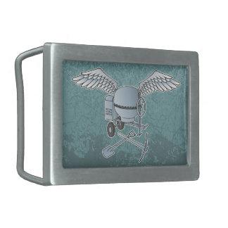Concrete mixer blue-gray rectangular belt buckle