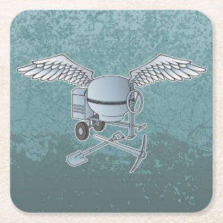 Concrete mixer blue-gray square paper coaster