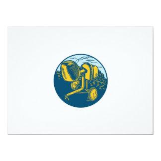 Concrete Mixer Circle Woodcut 17 Cm X 22 Cm Invitation Card