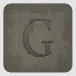 Concrete Monogram Letter G Square Sticker