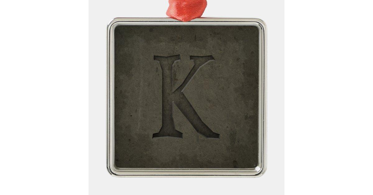 Concrete monogram letter k silver colored square for Letter k decoration