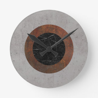Concrete, Rusted Iron, and Black Marble Abstract Round Clock