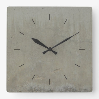 CONCRETE SMOOTH | industrial decor Square Wall Clock