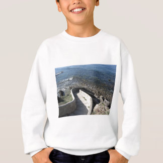 Concrete staircase down to the sea . Spiral stairs Sweatshirt