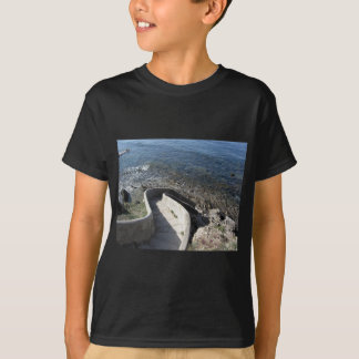 Concrete staircase down to the sea . Spiral stairs T-Shirt