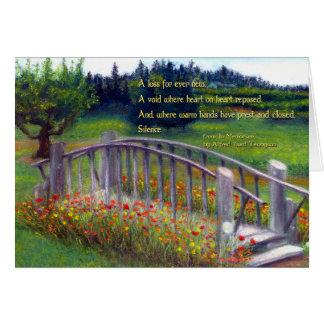 Condolences Footbridge, Flowers & Haiku Ladybug Ln Card