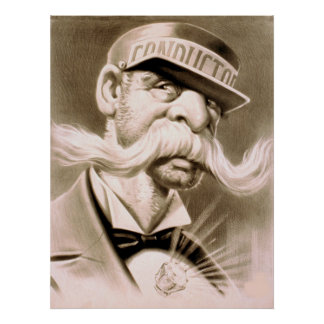 Conductor Huge Moustache Retro Vintage Poster
