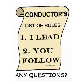 Conductor List Of Rules Postcard