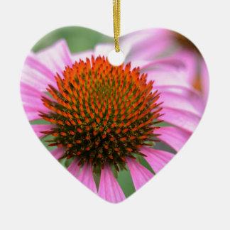 Cone flower ceramic heart decoration