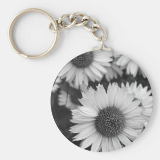 Cone Flowers - Daisy - In Black and White Key Chains