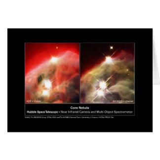 Cone Nebula NGC 2264 Hubble Visible vs. Infrared Card