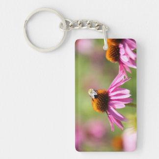 Coneflower and Honey Bee Key Ring