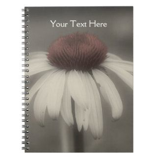 Coneflower Daisy In Black And White Notebook