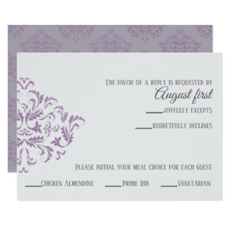 Coneflower Elegant Damask RSVP card