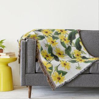 Coneflower Rudbeckia Flowers Floral Throw Blanket