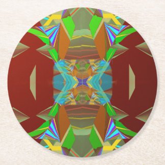 Cones Jungle Abstract Round Paper Coaster