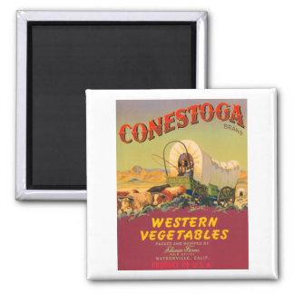 Conestoga Western Vegetables VIntage Crate Label Square Magnet