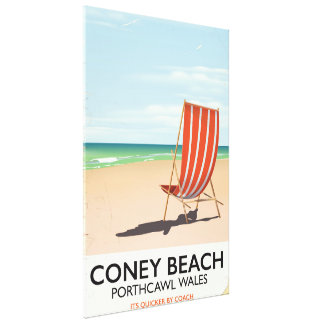 Coney Beach Porthcawl Wales travel poster Canvas Print