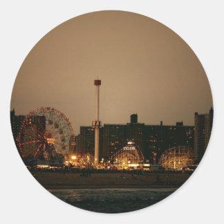 Coney Island at Night Round Sticker