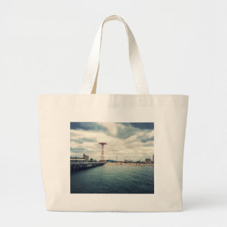 Coney Island Beach Panorama Large Tote Bag