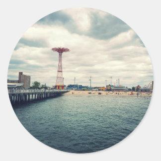 Coney Island Beach Panorama Round Sticker