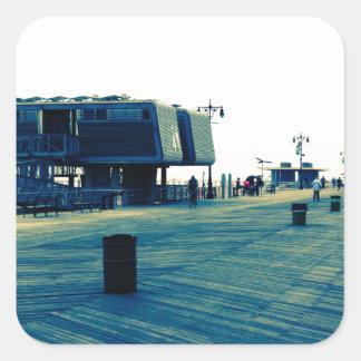 Coney Island Boardwalk Square Sticker