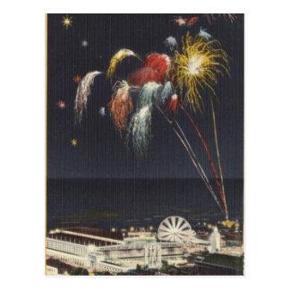 Coney Island Fireworks Postcard