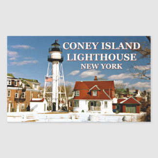 Coney Island Lighthouse, New York Rectangular Sticker